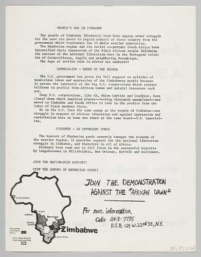 Image for Flyer advertising protest against Rhodesian imports