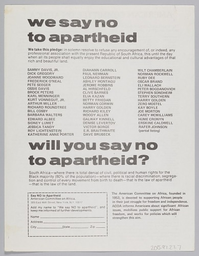 Image for Flyer soliciting pledges to stand against South African Apartheid