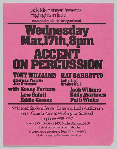 Image for Flyer advertising an evening of jazz at NYU Loeb Student Center