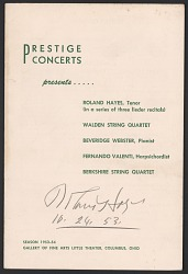 Program from a concert featuring Roland Hayes