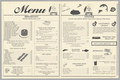 Image for Menu from the Florida Avenue Grill restaurant