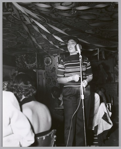 Image for Carmen McRae on stage, c. mid-1950s