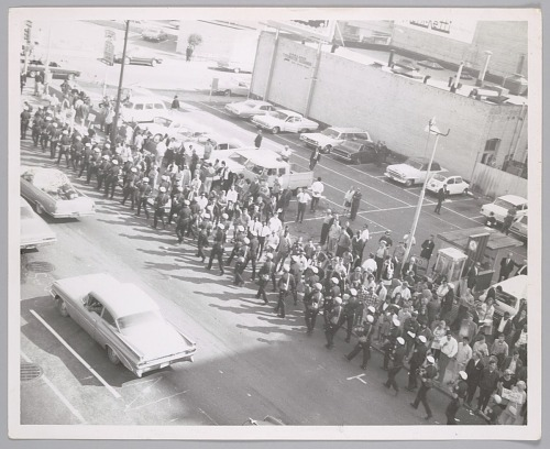 Image for Rooftop view of Oakland Police Department/ California Highway Patrol and others, c. 1969
