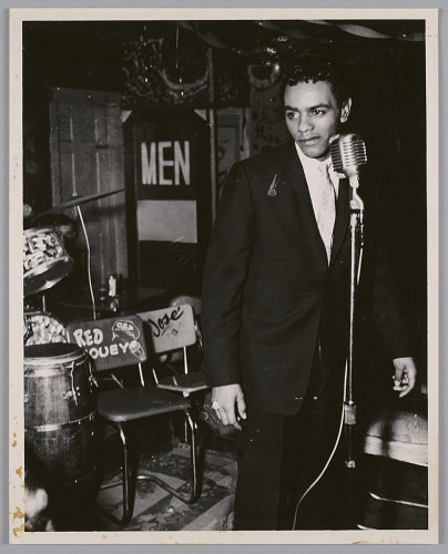 Image for Johnny Mathis at the mic, c. 1952