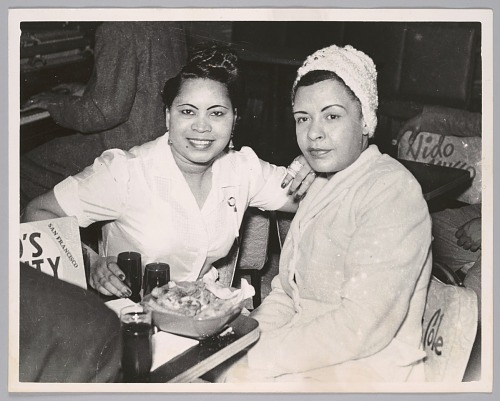Image for Billie Holiday with popular Bop City waitress, c. 1952