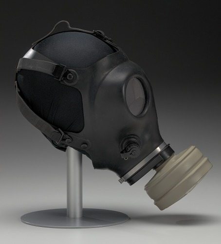 Image for Gas mask with filter canister worn at demonstrations in Ferguson, Missouri