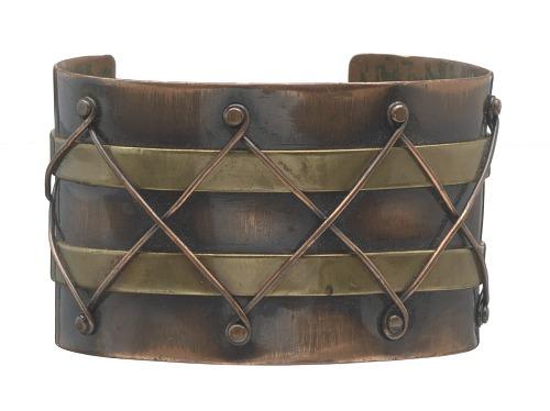 Image for Copper and brass diamond design cuff by Winifred Mason Chenet