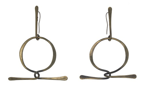 Image for Brass loop earrings by Art Smith
