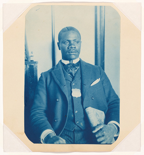 Image for Cyanotype of a man wearing a hotel porter badge