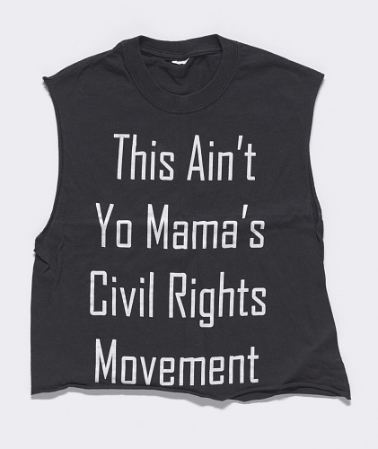 Image for T-shirt worn by Rahiel Tesfamariam at a protest commemorating Michael Brown