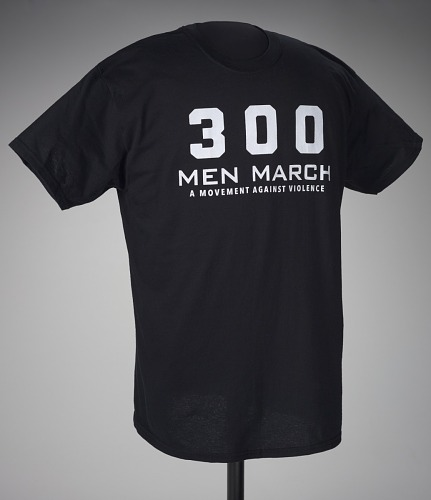 Image for Black t-shirt for 300 Men March worn at a rally after the death of Freddie Gray