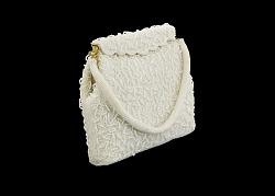 White beaded handbag from Mae's Millinery Shop