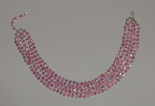 Image for Pink rhinestone choker necklace from Mae's Millinery Shop