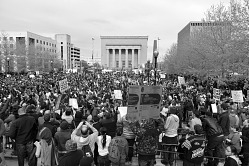 Digital image of a crowd of protesters at Baltimore War Memorial