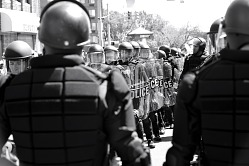 Digital image of police officers in riot gear