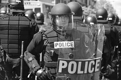 Digital image of a police officer in riot gear