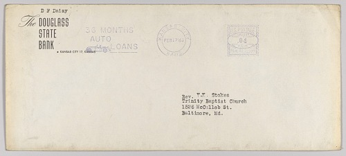Image for Envelope for letter from H.W. Sewing for Daisy Bates Trust Fund