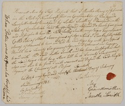 Bill of sale for 7-year-old Peter from Martha Avery to Luther Smith