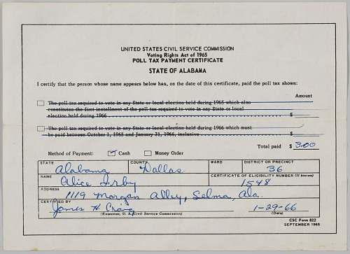 Image for Poll Tax Payment Certificate from the state of Alabama