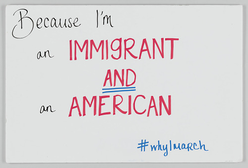"Image for Sign from Women's March on Washington with ""...I'm an Immigrant and an American"