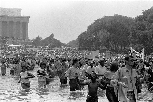 Image for Crowd wading in the Reflection Pool