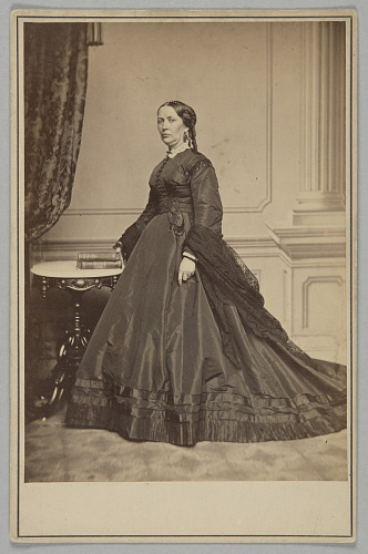 Image for Cabinet card of Mary Jane Hale Welles in a funeral dress by Elizabeth Keckley