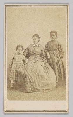 Carte-de-visite of a young woman and two children