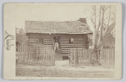 Image for Albumen print of a woman and two children in front of a log house in Georgia