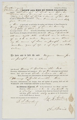 Bill of sale with two transactions for an enslaved man named Joe or Joseph