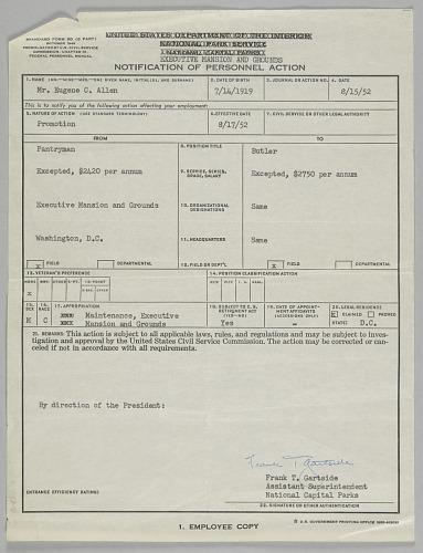 Image for SF 50 Personnel Action for position of Butler for Eugene Allen