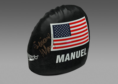 Swim cap worn and signed by Simone Manuel at the 2016 Olympics