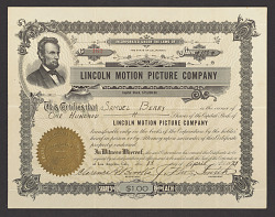 Stock certificate for the Lincoln Motion Picture Company.