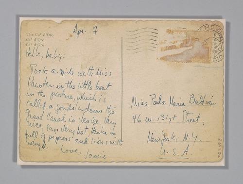Image for Postcard to Paula Baldwin from James Baldwin
