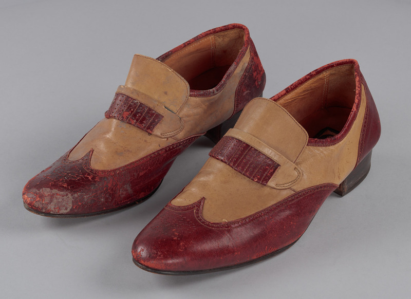 Image 1 for Red and cream loafers designed by Pierre Cardin and worn by Fats Domino
