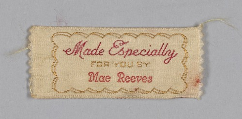 Image for Two clothing labels for Mae Reeves from Mae's Millinery Shop