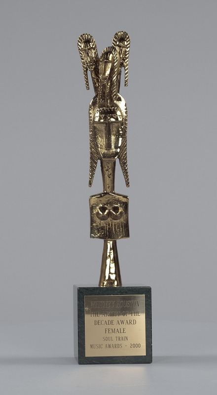 Image 1 for Soul Train trophy for Artist of the Decade - Female given to Whitney Houston
