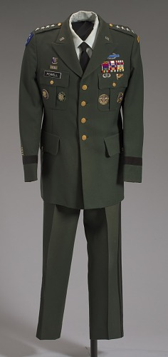 Image for US Army green service uniform jacket and service medals worn by Colin L. Powell