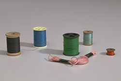 Six colors of thread from Mae's Millinery Shop