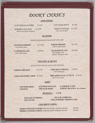 Menu from Dooky Chase's Restaurant