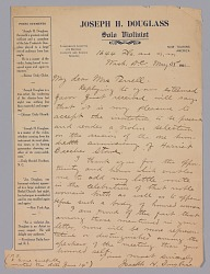 Letter to Mary Church Terrell from Joseph Douglass
