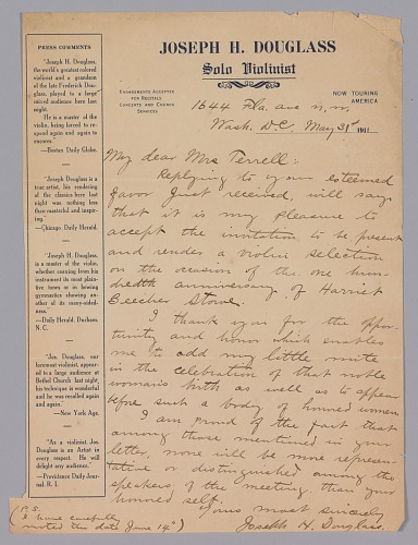 Image for Letter to Mary Church Terrell from Joseph Douglass