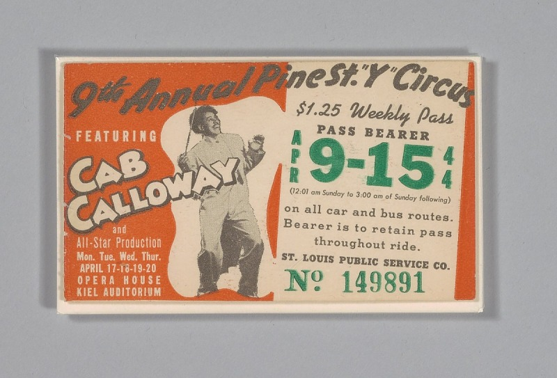 Image 1 for Transit pass for St. Louis Public Service Company depicting Cab Calloway