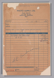 Receipt from Photo Supply Ltd. from the studio of H.C. Anderson