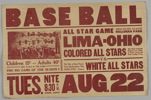 Image for Poster for a game between the Lima-Ohio Colored All Stars and the White All Star