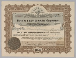 Stock certificate for Birth of a Race Photoplay Corporation