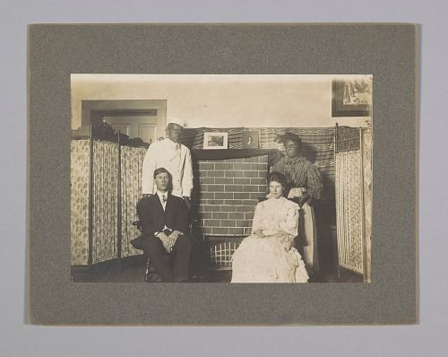 Image for Photograph of theatre production with blackface actors and Oliver Howard Horner