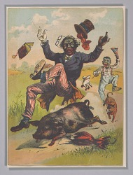"""Lithograph depicting a pig knocking over a """"zip coon"""""""