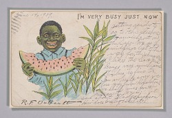 Postcard depicting a caricatured boy eating a slice of watermelon
