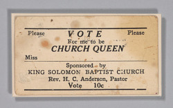 Church Queen ticket from the home of H.C. Anderson