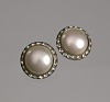 Thumbnail for Circular pearl and rhinestone earrings from Mae's Millinery Shop